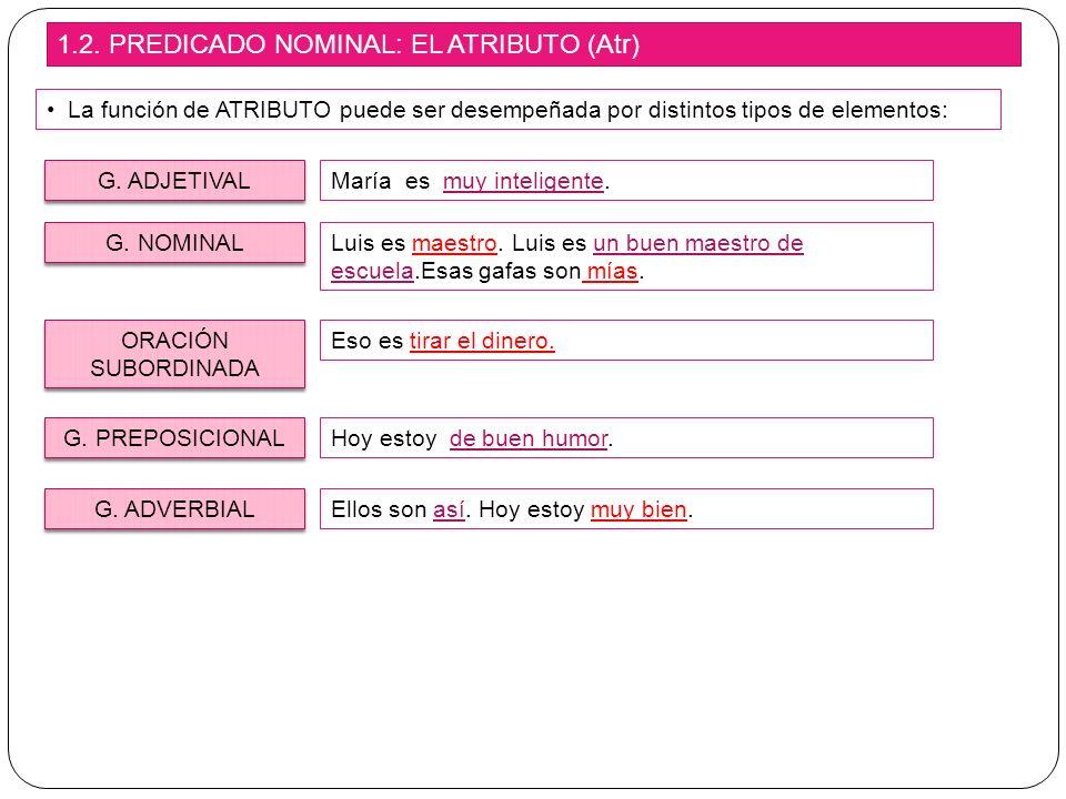 1.2. PREDICADO NOMINAL: EL ATRIBUTO (Atr)