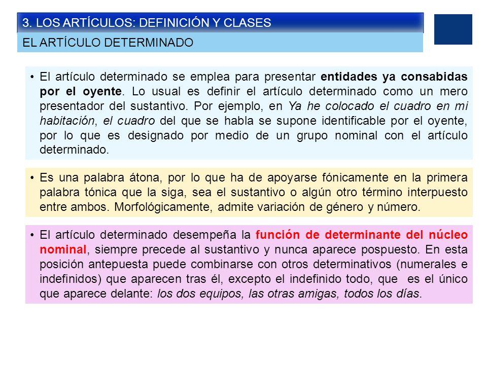 3. LOS ARTÍCULOS: DEFINICIÓN Y CLASES