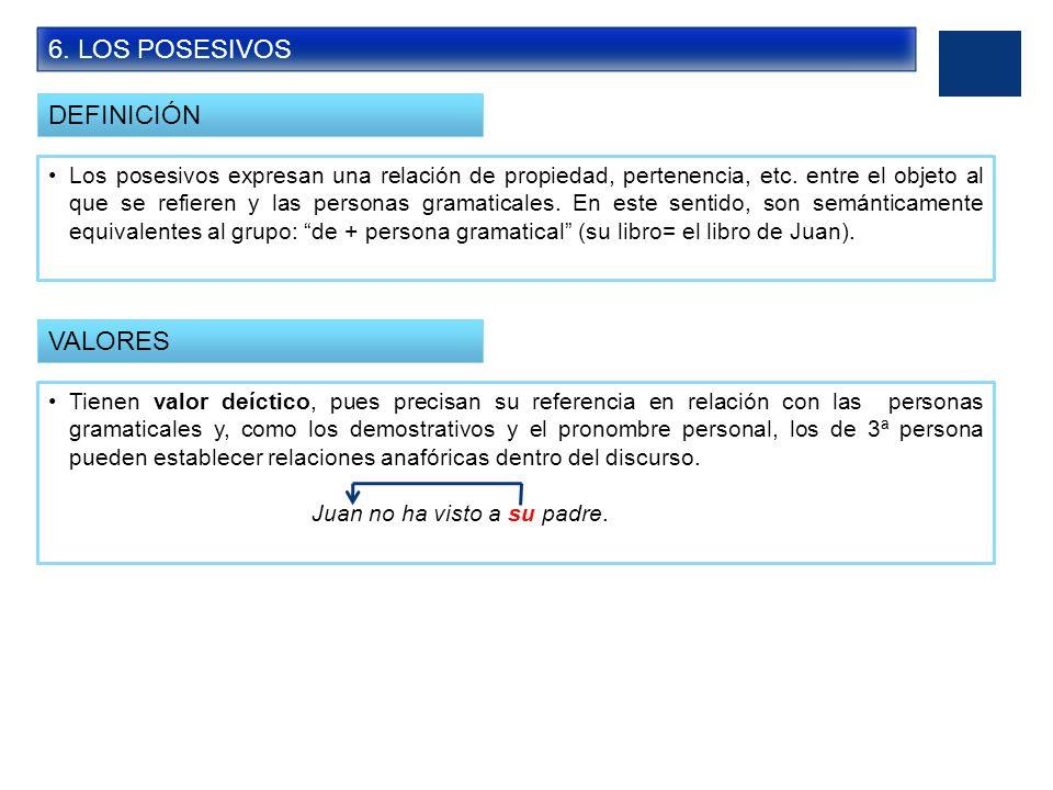 6. LOS POSESIVOS DEFINICIÓN VALORES