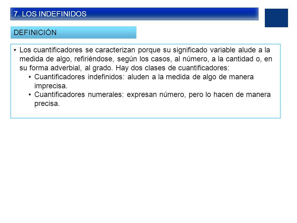 7. LOS INDEFINIDOS DEFINICIÓN.