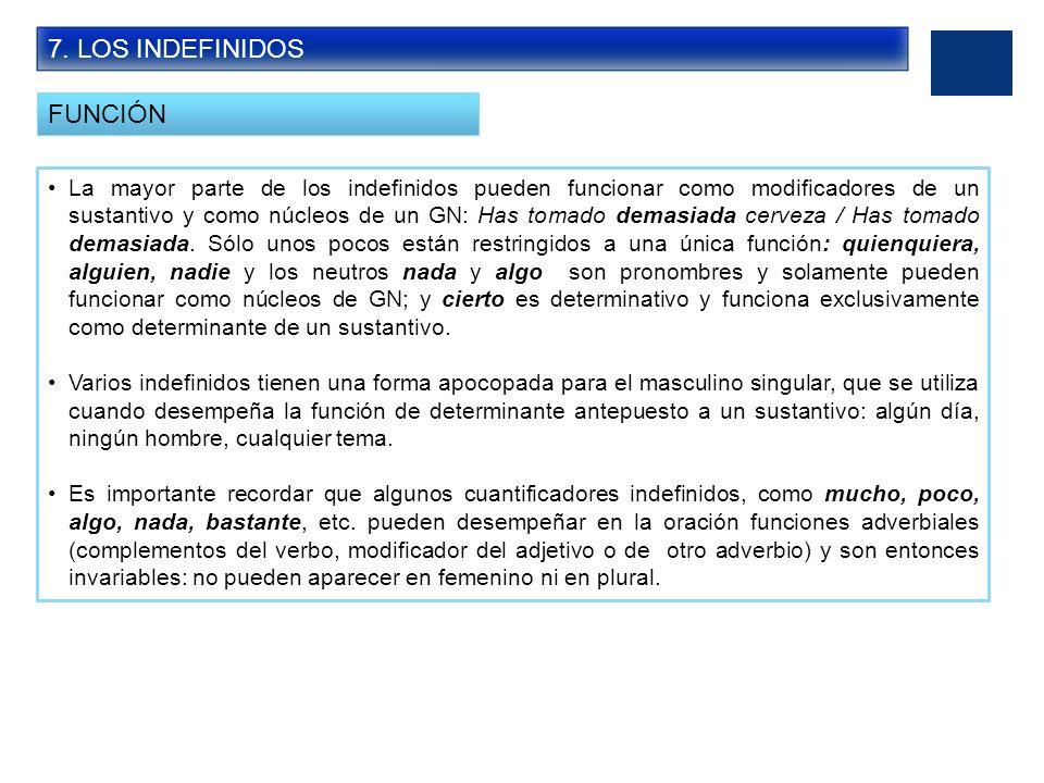 7. LOS INDEFINIDOS FUNCIÓN