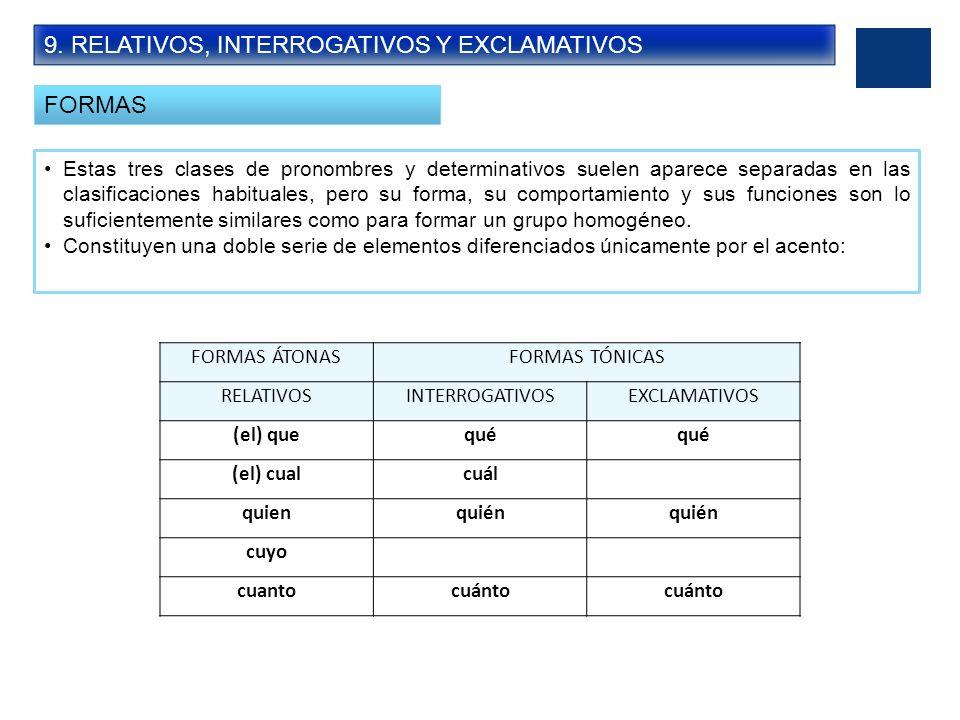 9. RELATIVOS, INTERROGATIVOS Y EXCLAMATIVOS