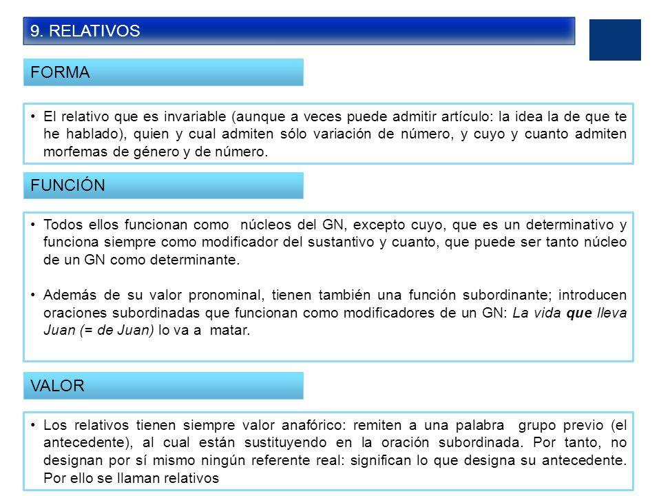 9. RELATIVOS FORMA FUNCIÓN VALOR