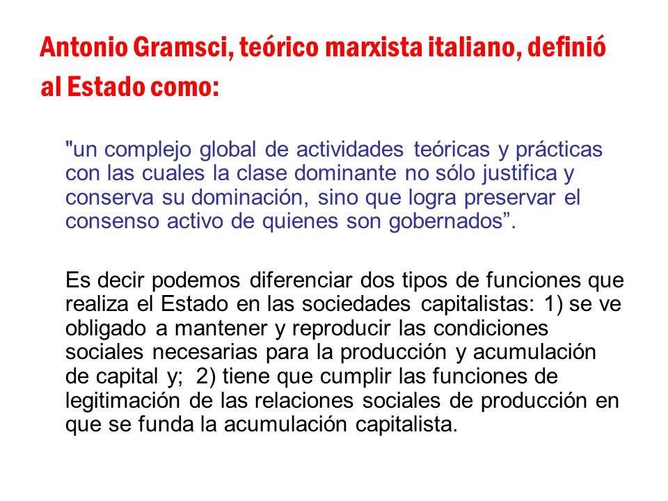 Antonio Gramsci, teórico marxista italiano, definió al Estado como: