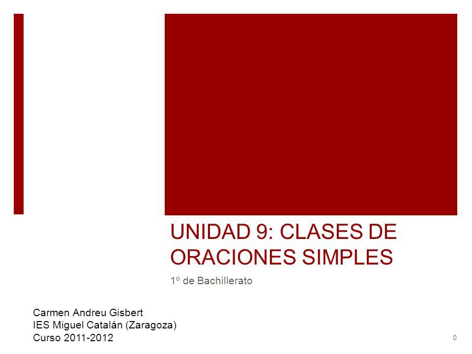 UNIDAD 9: CLASES DE ORACIONES SIMPLES