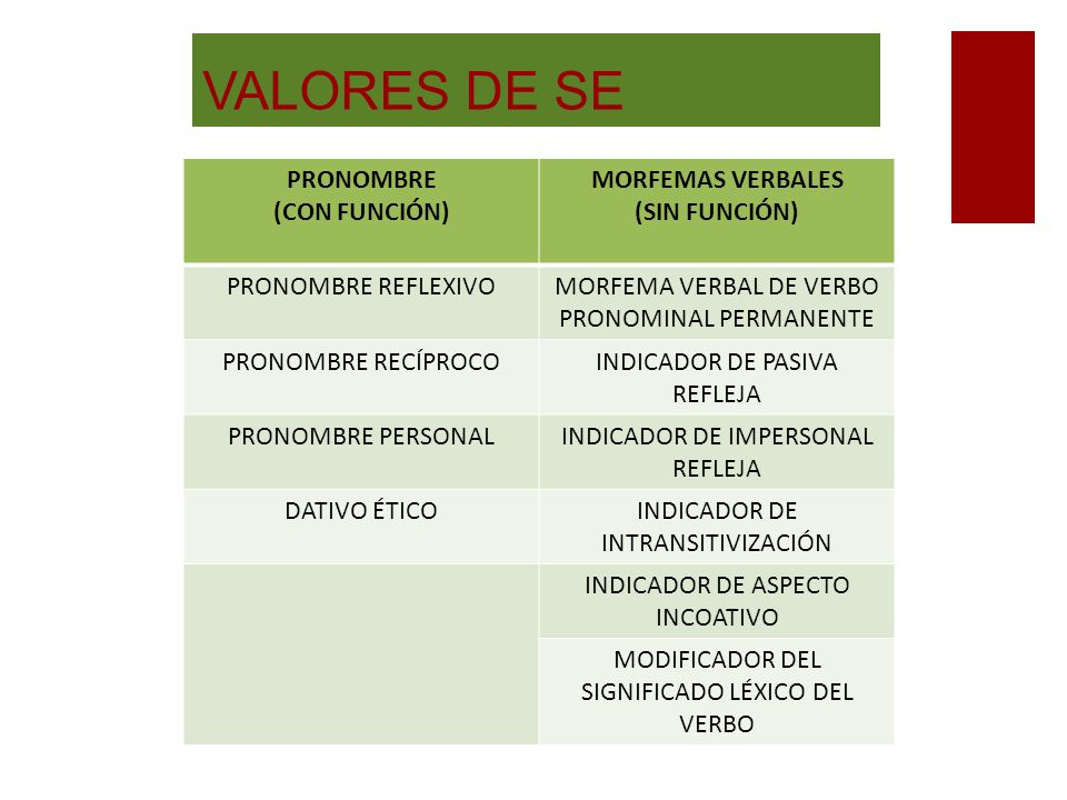 VALORES DE SE PRONOMBRE (CON FUNCIÓN) MORFEMAS VERBALES (SIN FUNCIÓN)