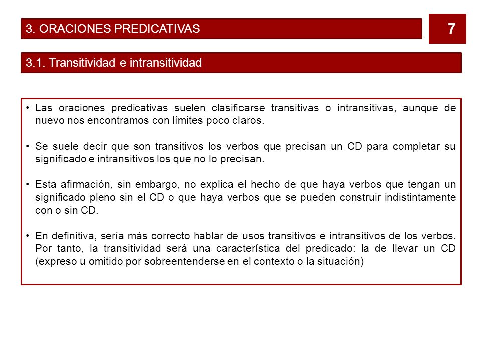 3. ORACIONES PREDICATIVAS