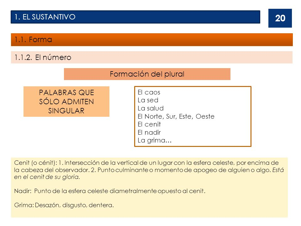 1. EL SUSTANTIVO 1.1. Forma 1.1.2. El número Formación del plural