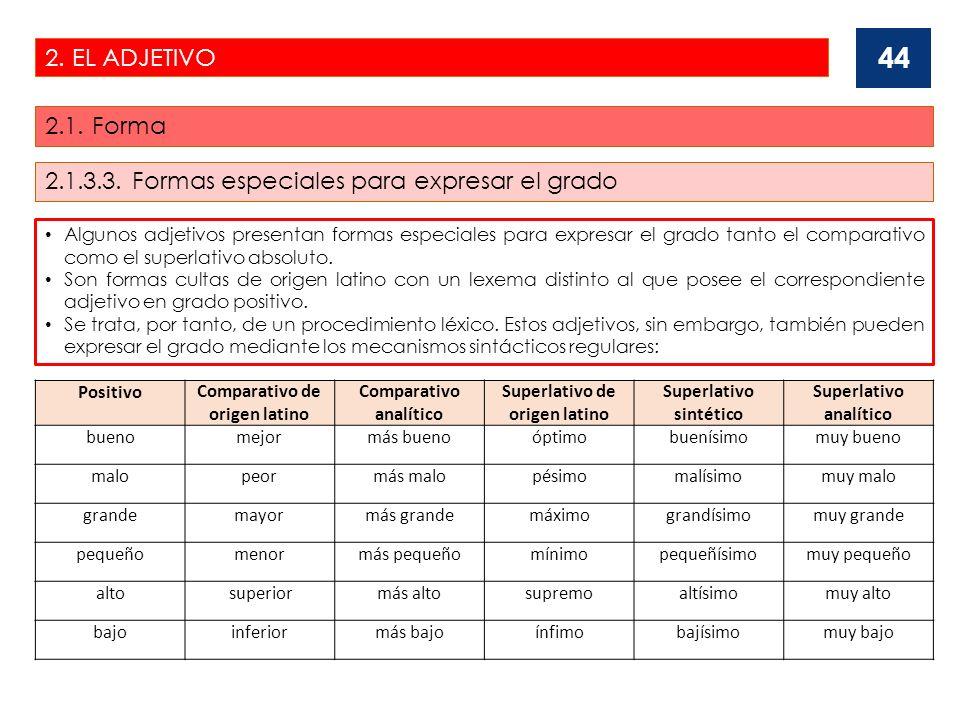 2.1.3.3. Formas especiales para expresar el grado