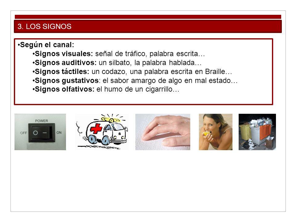 3. LOS SIGNOS Según el canal: Signos visuales: señal de tráfico, palabra escrita… Signos auditivos: un silbato, la palabra hablada…