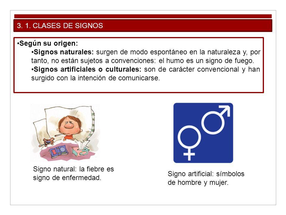 3. 1. CLASES DE SIGNOS Según su origen: