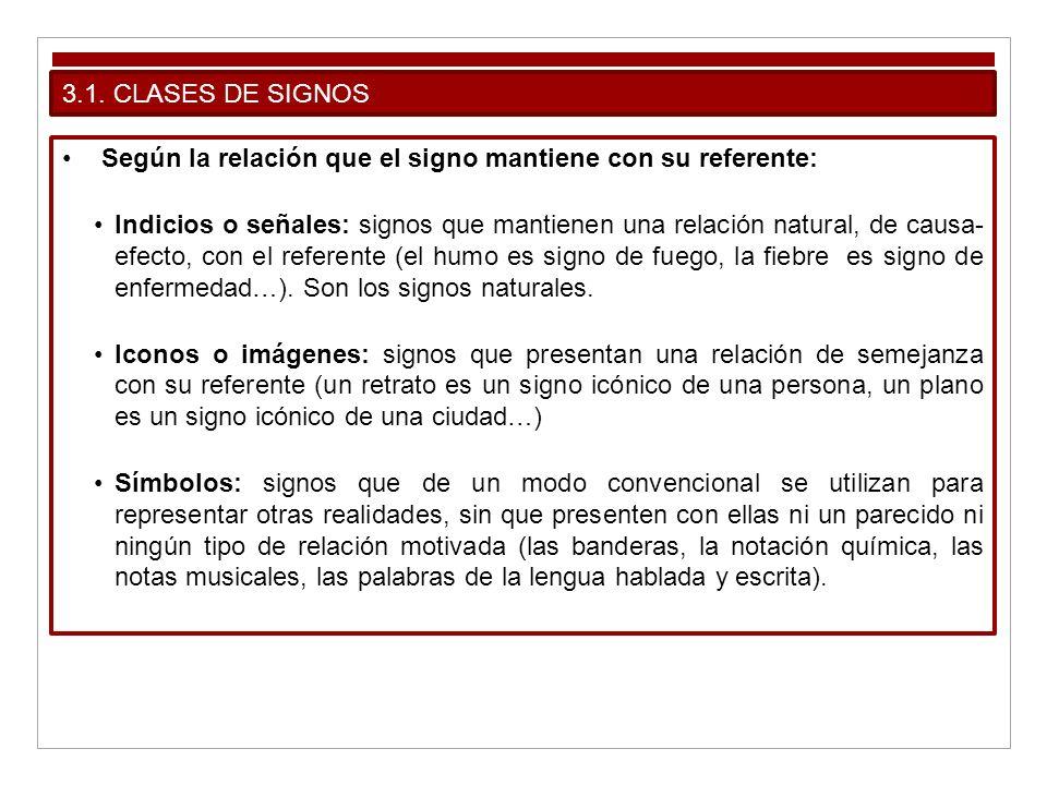 3.1. CLASES DE SIGNOSSegún la relación que el signo mantiene con su referente: