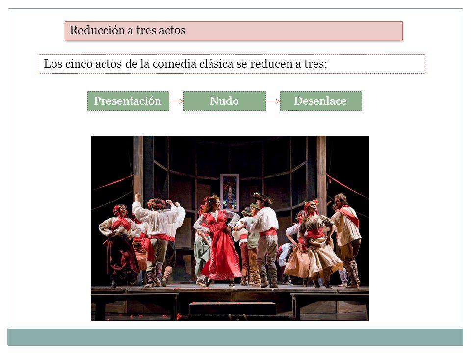 Reducción a tres actos Los cinco actos de la comedia clásica se reducen a tres: Presentación. Nudo.