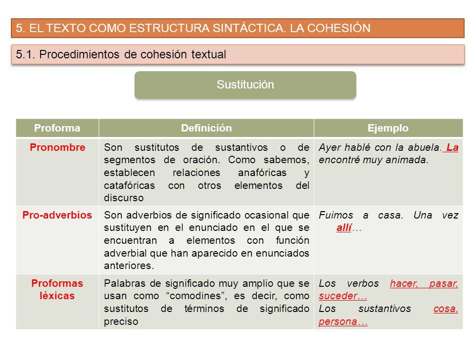 5. EL TEXTO COMO ESTRUCTURA SINTÁCTICA. LA COHESIÓN