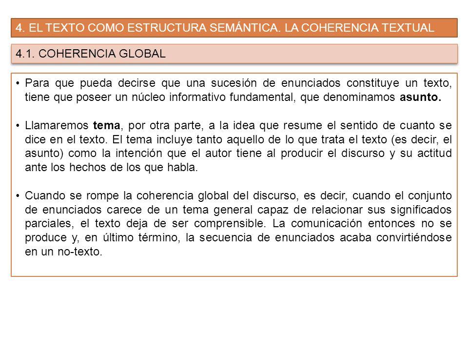 4. EL TEXTO COMO ESTRUCTURA SEMÁNTICA. LA COHERENCIA TEXTUAL
