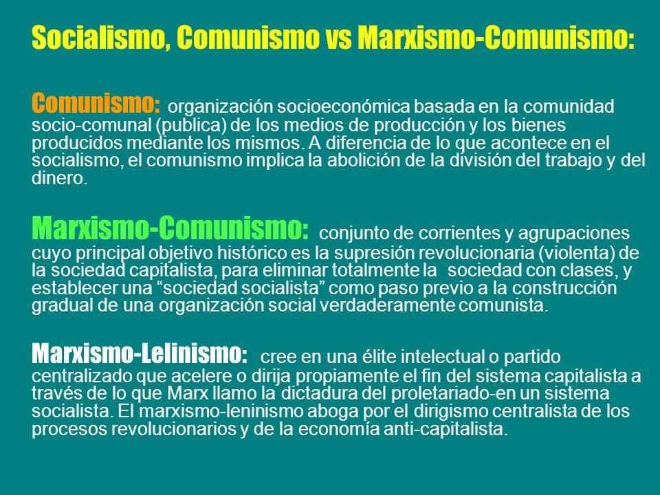 Socialismo, Comunismo vs Marxismo-Comunismo: