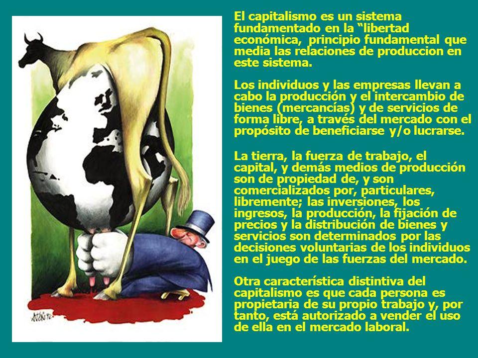 El capitalismo es un sistema fundamentado en la libertad económica, principio fundamental que media las relaciones de produccion en este sistema.
