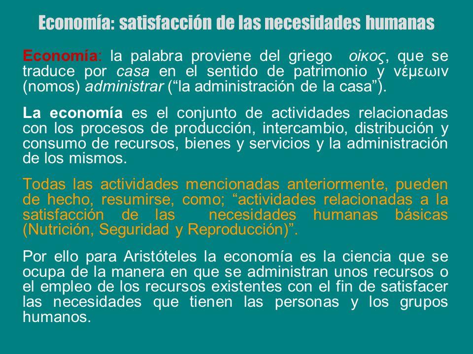 Economía: satisfacción de las necesidades humanas