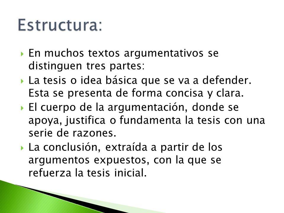 Estructura: En muchos textos argumentativos se distinguen tres partes: