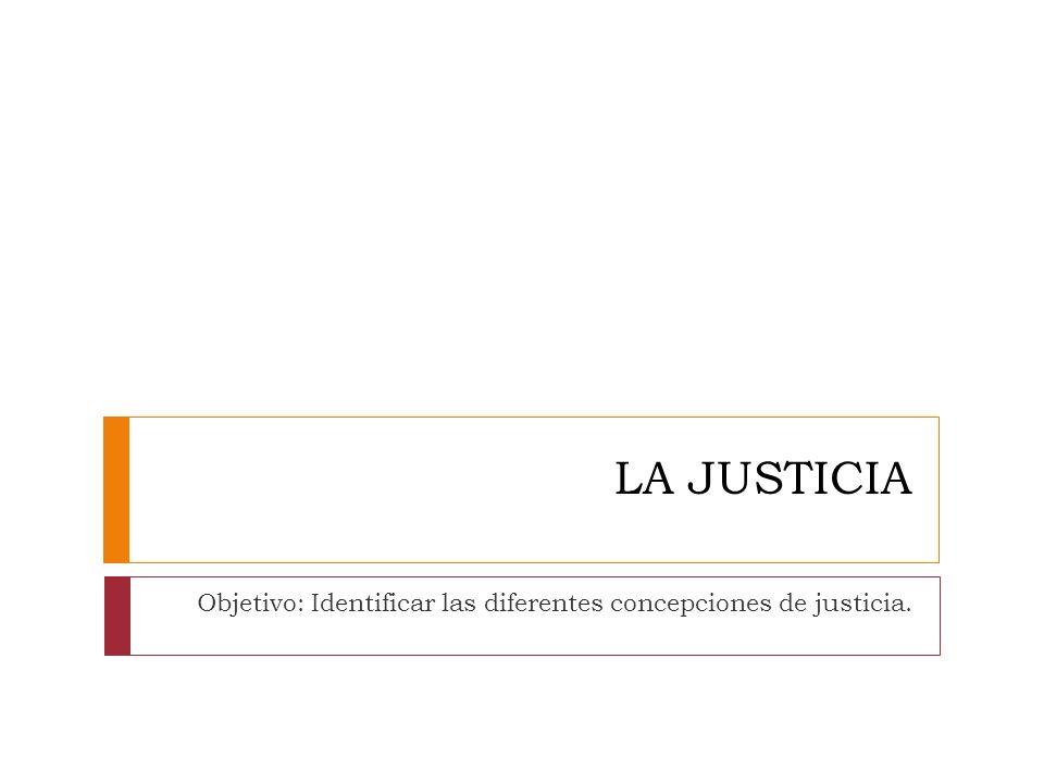Objetivo: Identificar las diferentes concepciones de justicia.