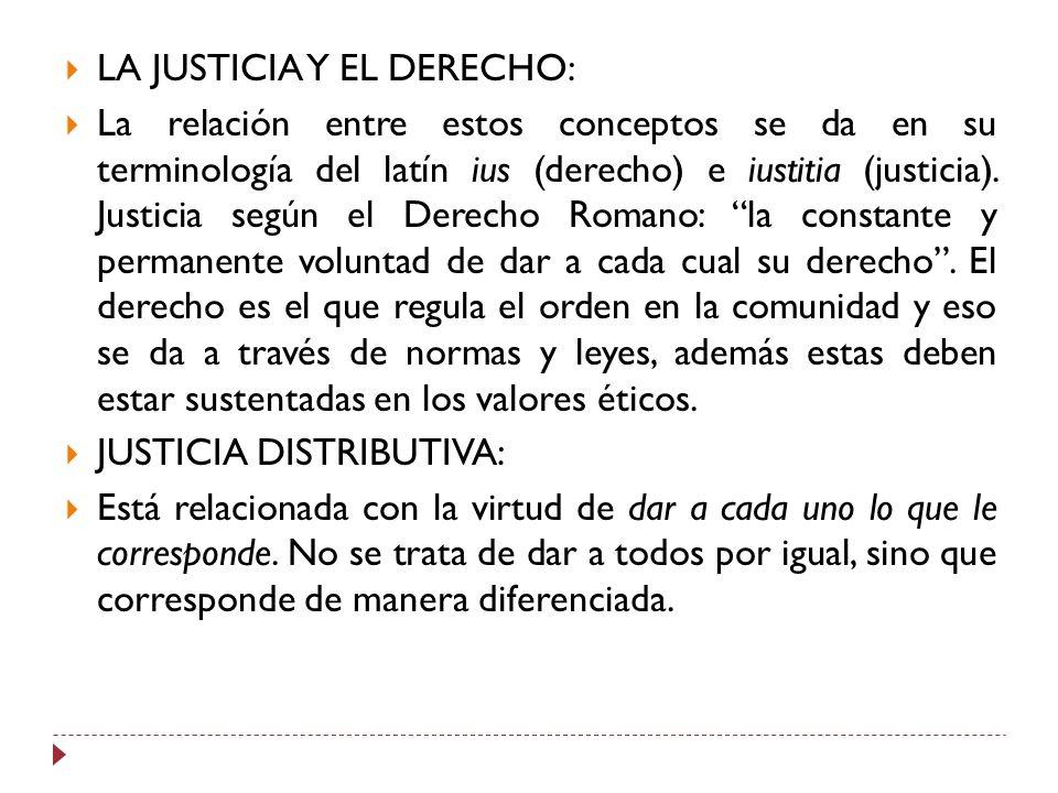 LA JUSTICIA Y EL DERECHO:
