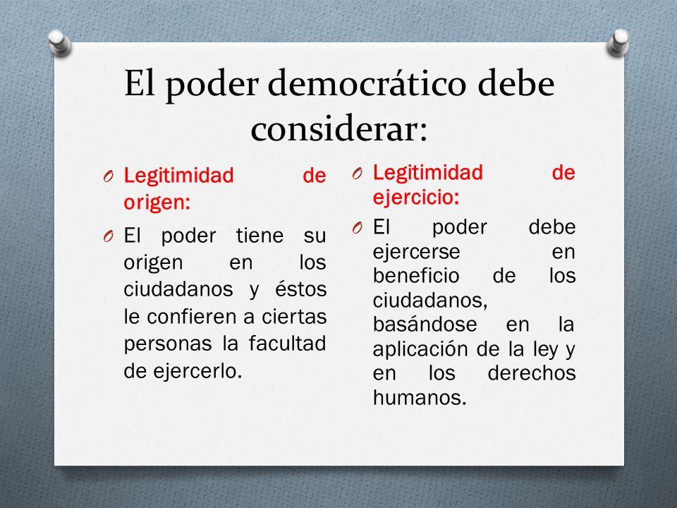 El poder democrático debe considerar: