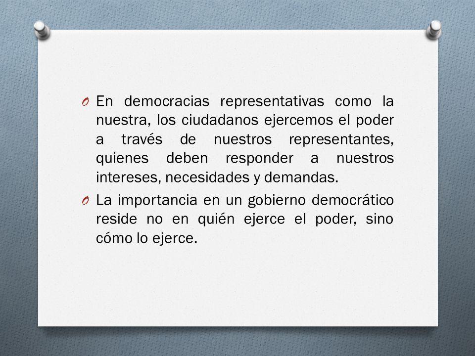 En democracias representativas como la nuestra, los ciudadanos ejercemos el poder a través de nuestros representantes, quienes deben responder a nuestros intereses, necesidades y demandas.