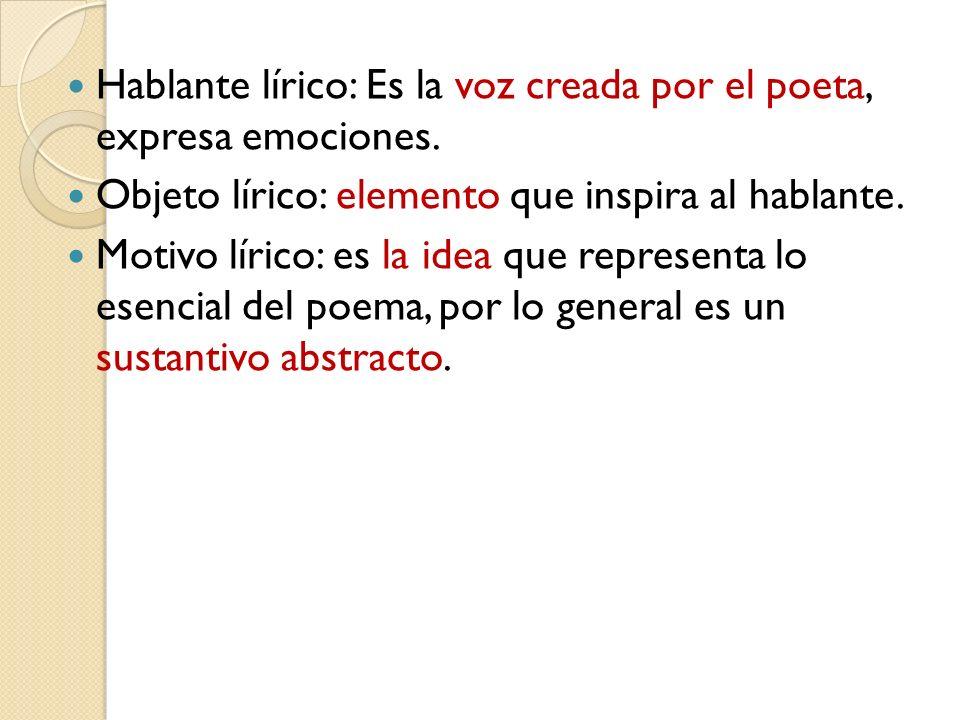 Hablante lírico: Es la voz creada por el poeta, expresa emociones.