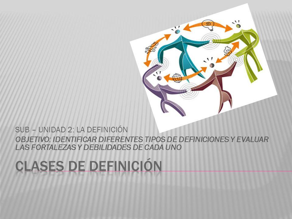 CLASES DE DEFINICIÓN SUB – UNIDAD 2: LA DEFINICIÓN
