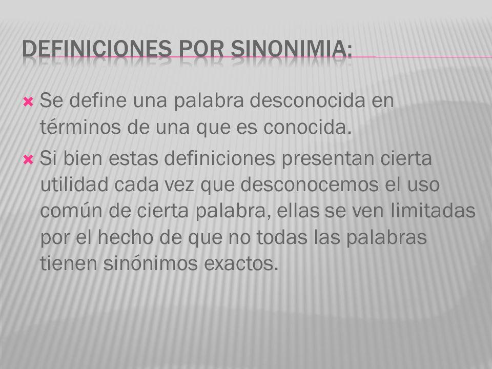 DEFINICIONES POR SINONIMIA: