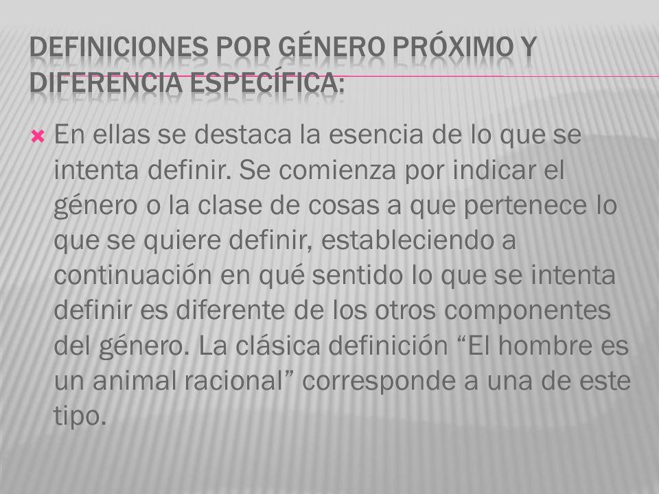 DEFINICIONES POR GÉNERO PRÓXIMO Y DIFERENCIA ESPECÍFICA: