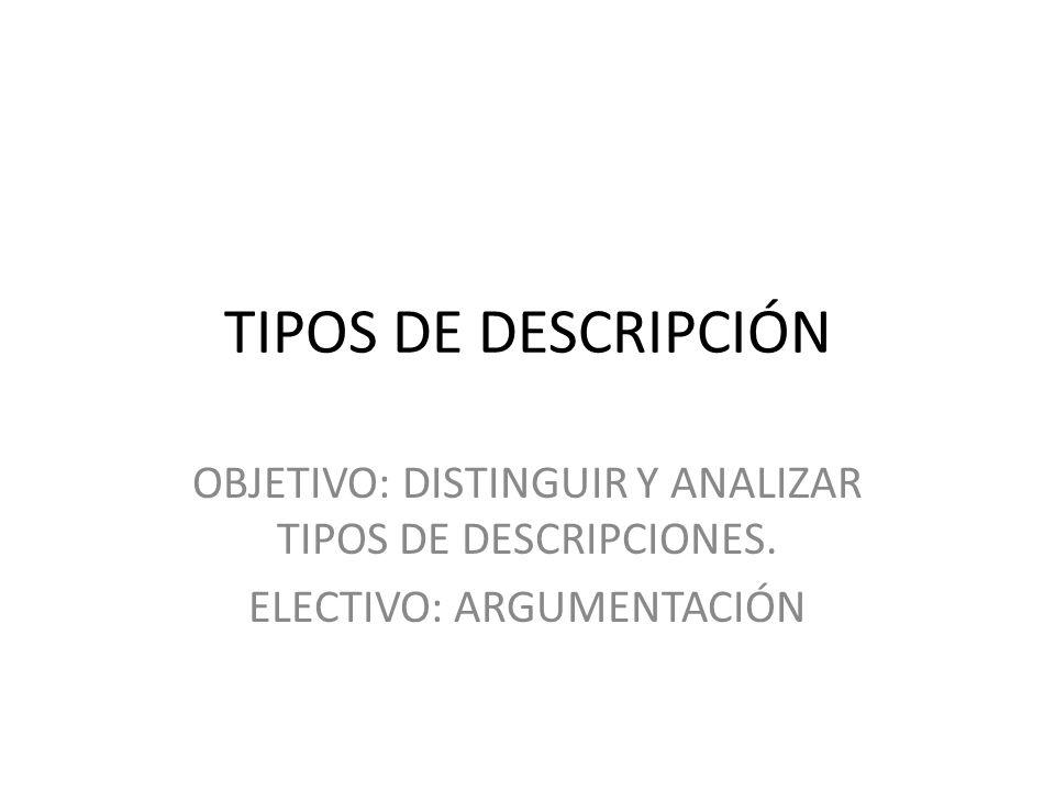 TIPOS DE DESCRIPCIÓN OBJETIVO: DISTINGUIR Y ANALIZAR TIPOS DE DESCRIPCIONES.