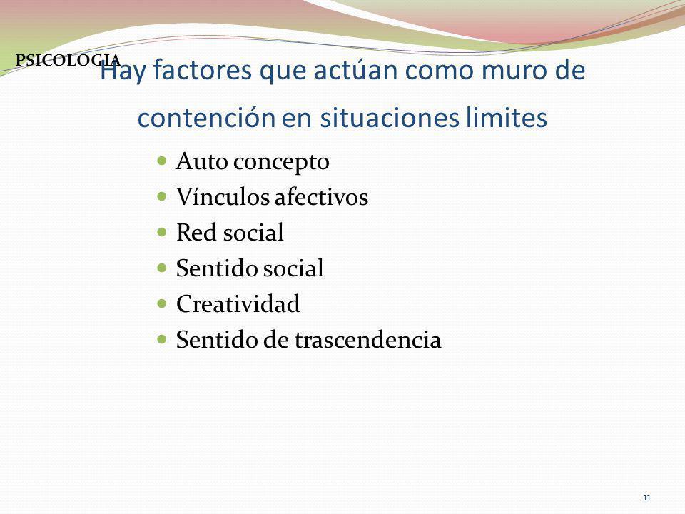 Hay factores que actúan como muro de contención en situaciones limites