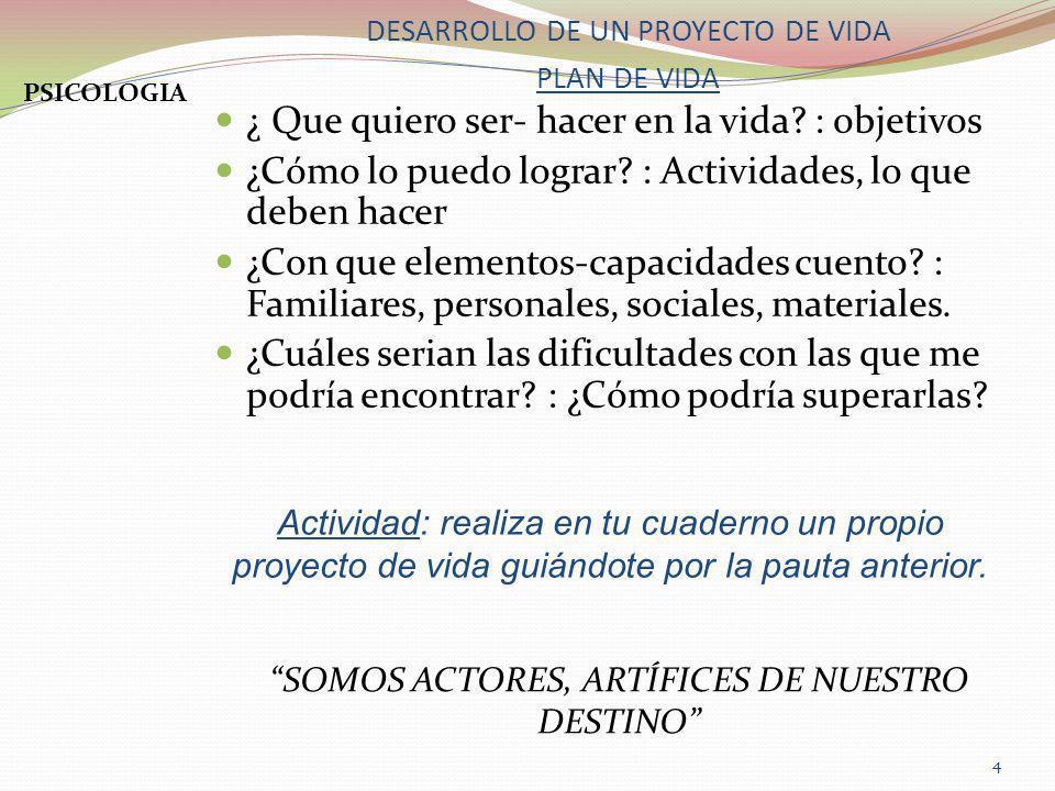 DESARROLLO DE UN PROYECTO DE VIDA PLAN DE VIDA