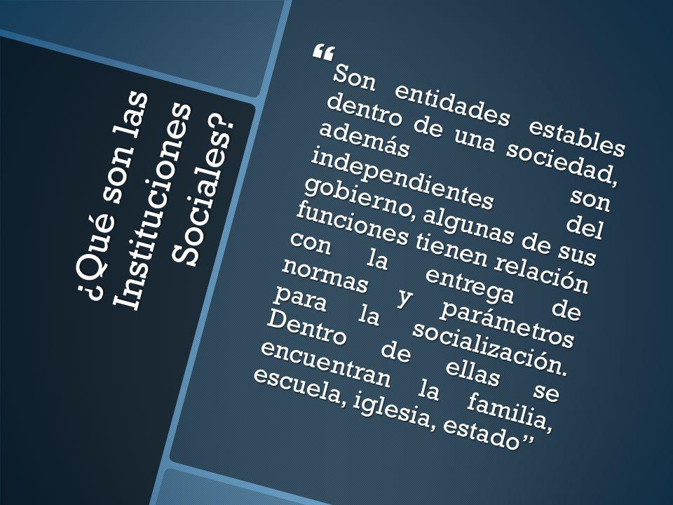 ¿Qué son las Instituciones Sociales
