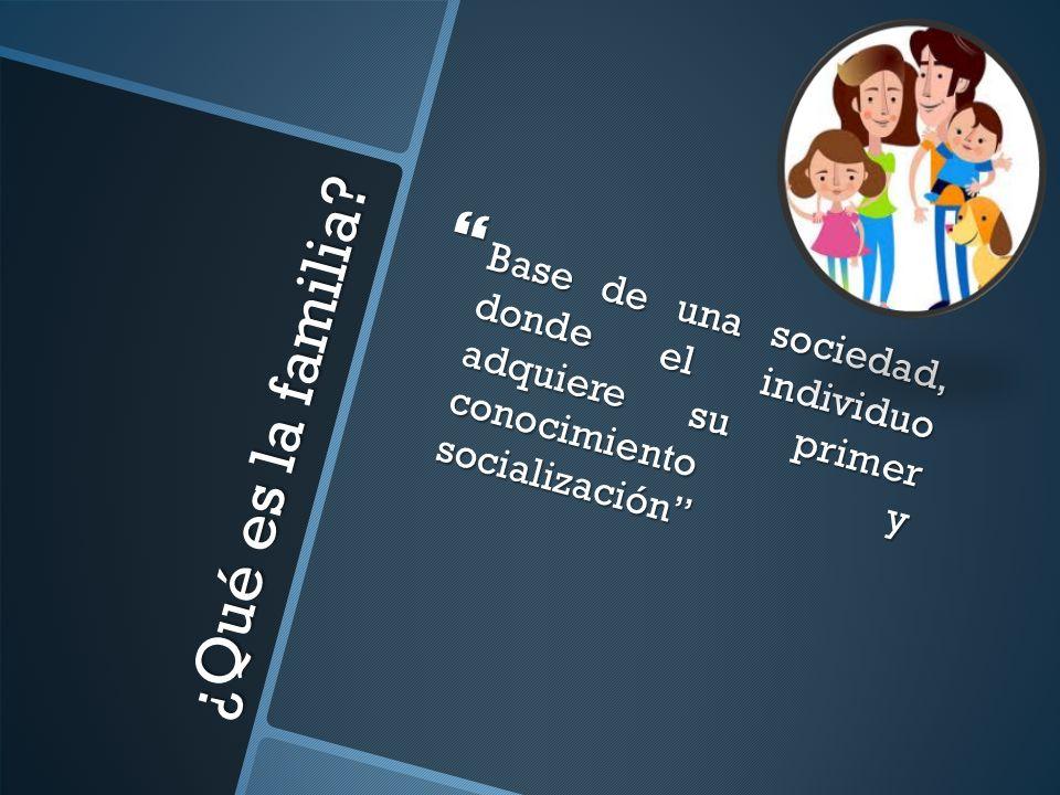 Base de una sociedad, donde el individuo adquiere su primer conocimiento y socialización