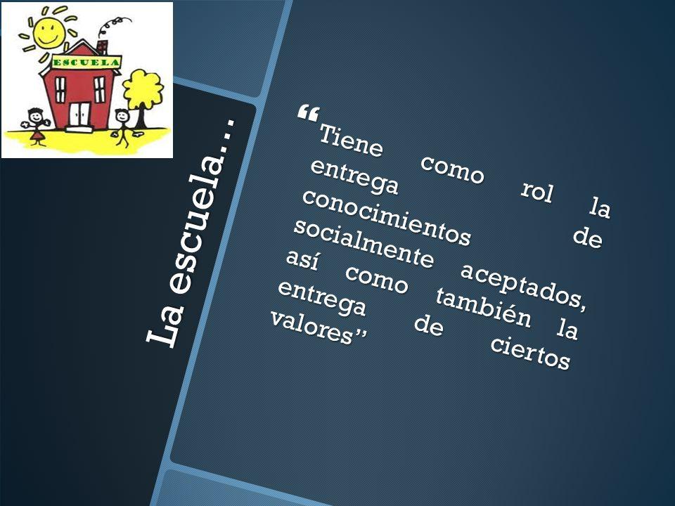 Tiene como rol la entrega de conocimientos socialmente aceptados, así como también la entrega de ciertos valores