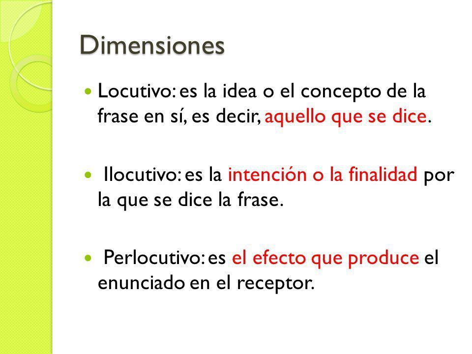 DimensionesLocutivo: es la idea o el concepto de la frase en sí, es decir, aquello que se dice.