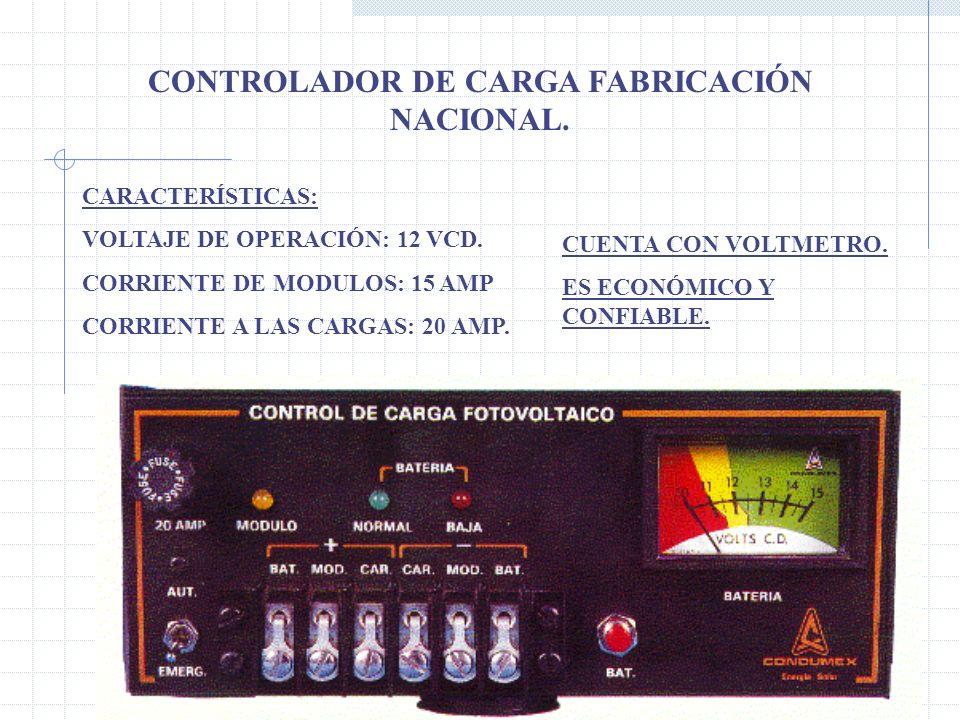 CONTROLADOR DE CARGA FABRICACIÓN NACIONAL.