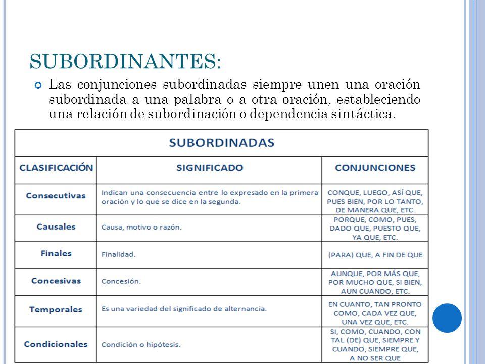 SUBORDINANTES: