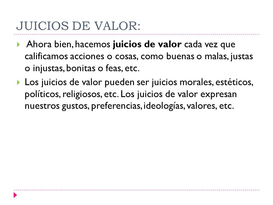 JUICIOS DE VALOR: