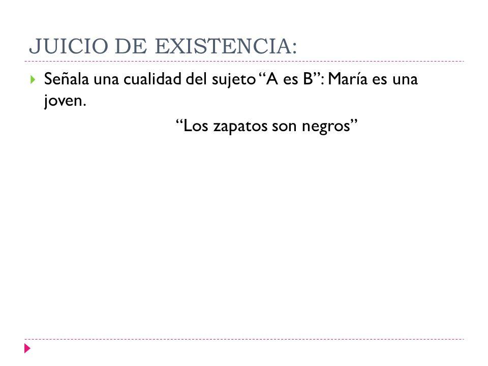 JUICIO DE EXISTENCIA: Señala una cualidad del sujeto A es B : María es una joven.