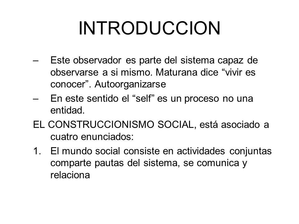 INTRODUCCIONEste observador es parte del sistema capaz de observarse a si mismo. Maturana dice vivir es conocer . Autoorganizarse.