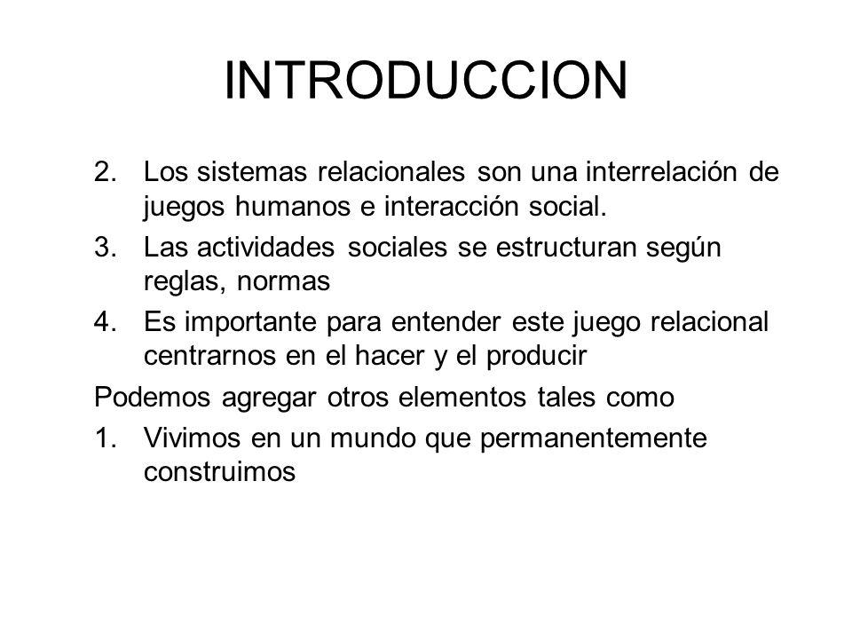 INTRODUCCION Los sistemas relacionales son una interrelación de juegos humanos e interacción social.