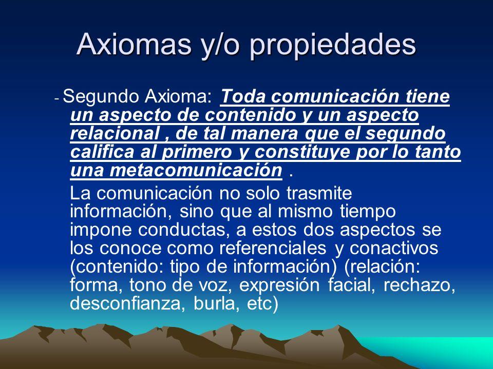 Axiomas y/o propiedades