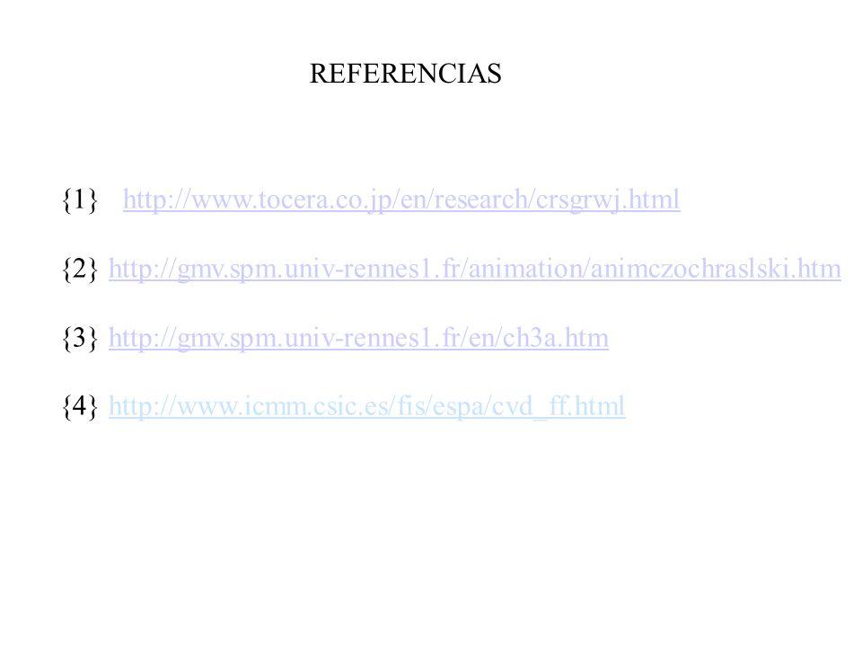 REFERENCIAS {1} http://www.tocera.co.jp/en/research/crsgrwj.html. {2} http://gmv.spm.univ-rennes1.fr/animation/animczochraslski.htm.
