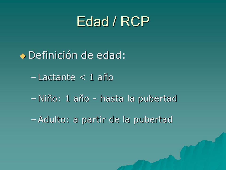 Edad / RCP Definición de edad: Lactante < 1 año