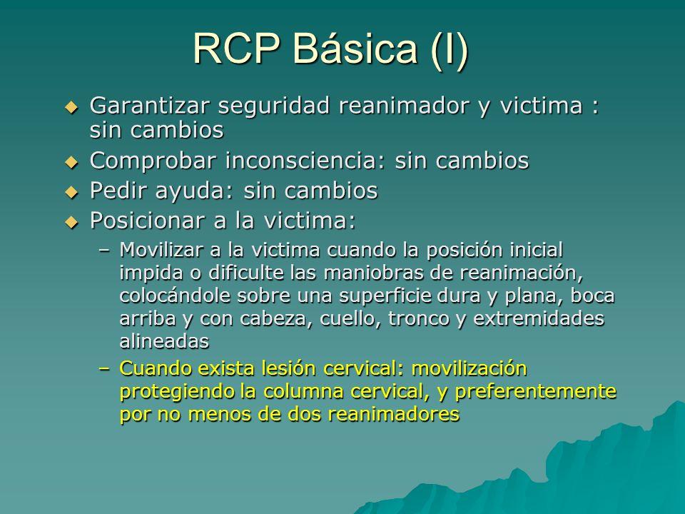 RCP Básica (I) Garantizar seguridad reanimador y victima : sin cambios