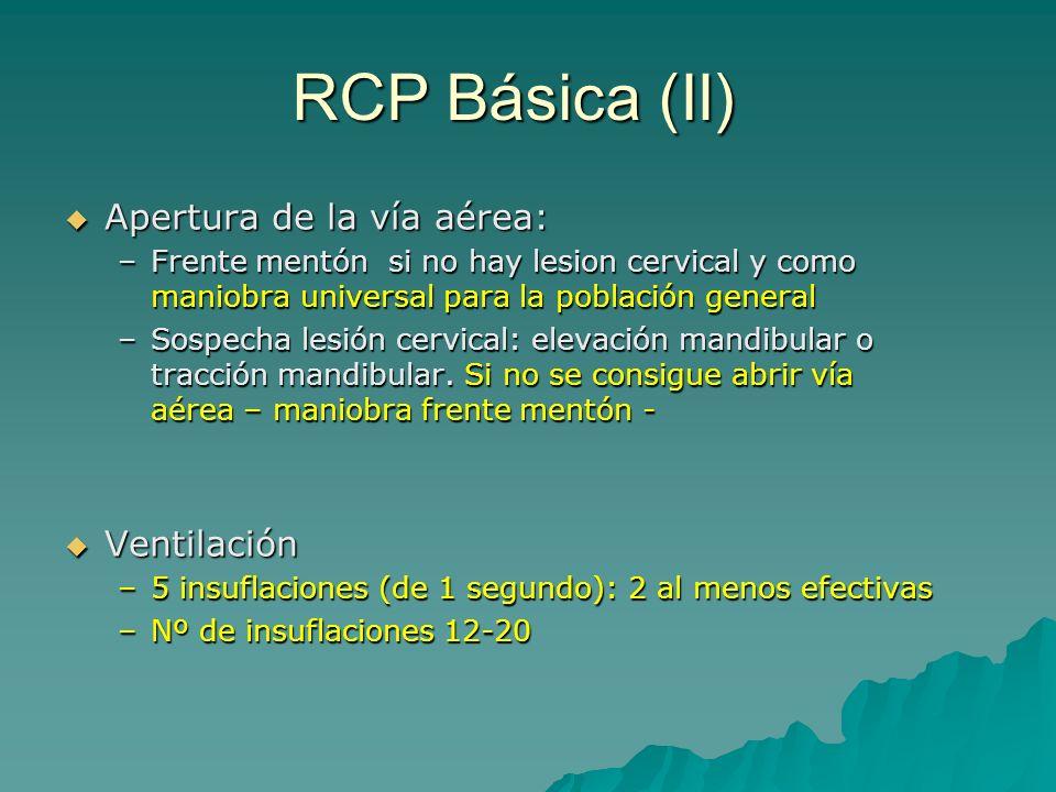 RCP Básica (II) Apertura de la vía aérea: Ventilación