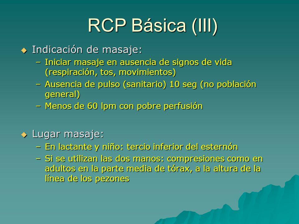 RCP Básica (III) Indicación de masaje: Lugar masaje: